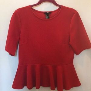 Red woven H&M ruffle blouse